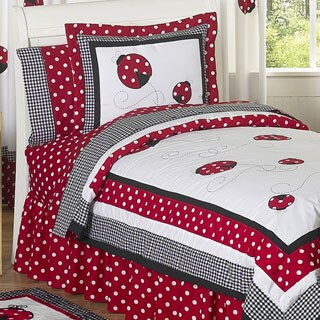 Sweet Jojo Designs Girls 'Ladybug' 4-piece Twin Comforter Set