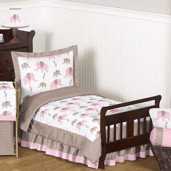 Sweet Jojo Designs Pink/Taupe Mod Elephant 5-piece Toddler Comforter Set