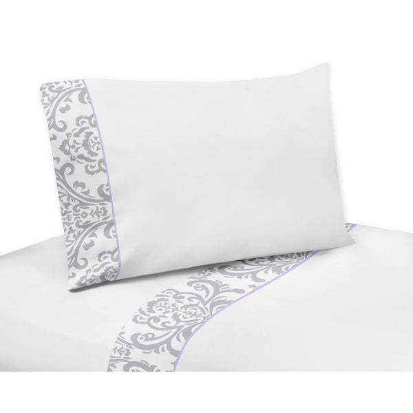 Sweet Jojo Designs Gray/ White Elizabeth 200 Thread Count Sheet Set