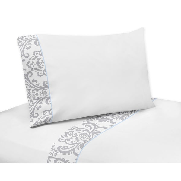 Sweet Jojo Designs Gray/ Blue/ White Avery 200 Thread Count Sheet Set