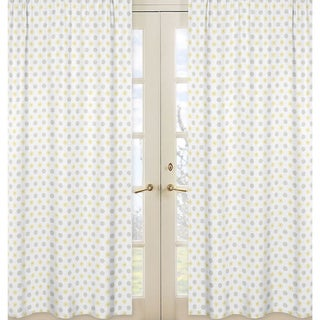 Sweet Jojo Designs Gray, Yellow and White 84-inch Window Treatment Curtain Panel Pair for Mod Garden Collection - 42 x 84