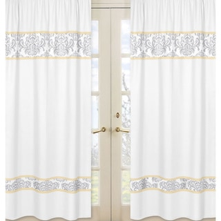 Sweet Jojo Designs Gray, Yellow and White 84-inch Window Treatment Curtain Panel Pair for Yellow and Gray Avery Collection
