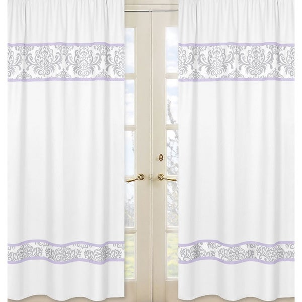 Sweet Jojo Designs Gray, Lavender and White 84-inch Window Treatment Curtain Panel Pair for Lavender Elizabeth Collection
