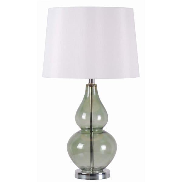 "Design Craft Alma 27"" Table Lamp - Spruce Green Glass"