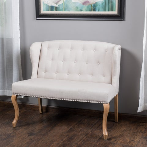 Adrianna Wingback Button-tufted Fabric Loveseat by Christopher Knight Home