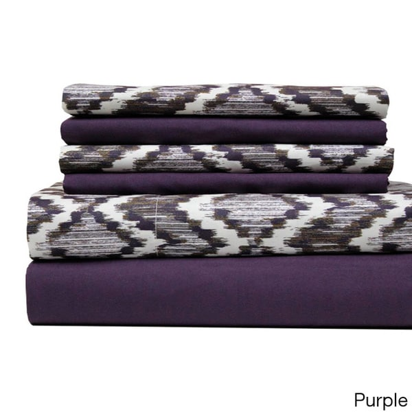 Amrapur Overseas Texture Printed and Solid 6-piece Sheet Set