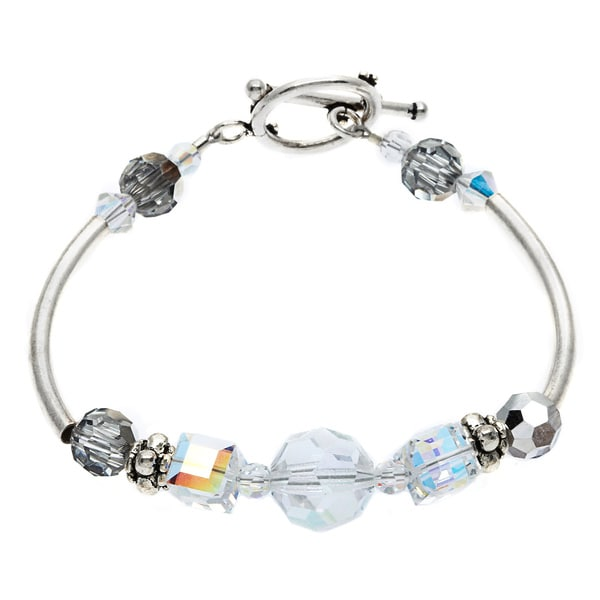 Sterling Silver and Austrian Crystal Beaded Bracelet