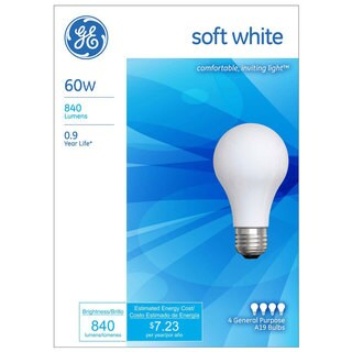ge 4piece 60watts soft white light bulbs set pack of 12