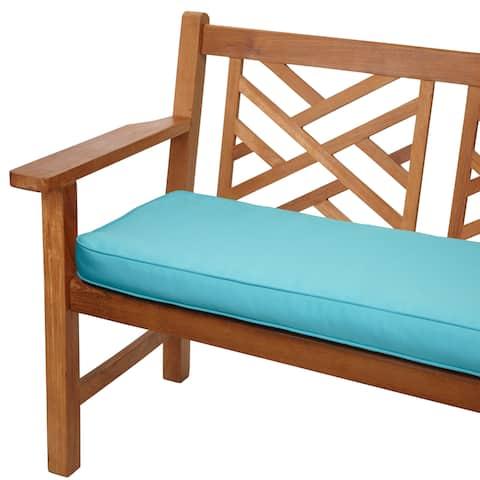 Aruba Blue Corded Indoor/ Outdoor Bench Cushion with Sunbrella Fabric