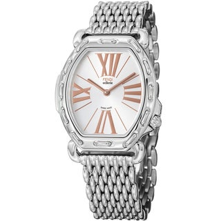 Fendi Women's F84336HBR8153 'Selleria' Silver Dial Tonneau Steel Quartz Watch