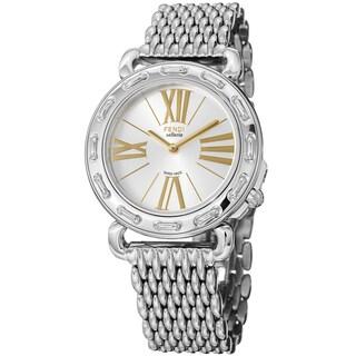 Fendi Women's F81236HBR8153 'Selleria' Silver Dial Stainless Steel Watch