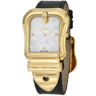 Fendi Women's 'B. Fendi' Mother of Pearl Dial Leather Strap Watch