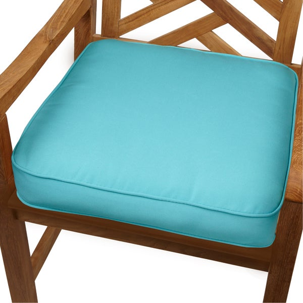 shop aruba blue indoor outdoor 19 chair cushion with sunbrella fabric free shipping today. Black Bedroom Furniture Sets. Home Design Ideas