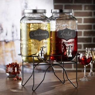 Blackboard Glass Beverage Dispenser with Spigot and Metal Stand (Set of 2)