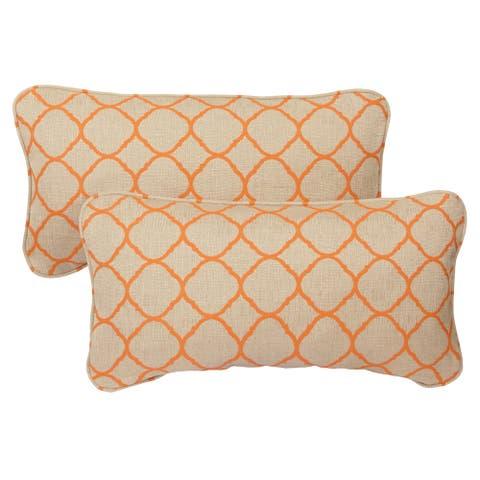 Moroccan Orange Indoor/ Outdoor Corded 12 x 24 inch Lumbar Pillows with Sunbrella Fabric (Set of 2)