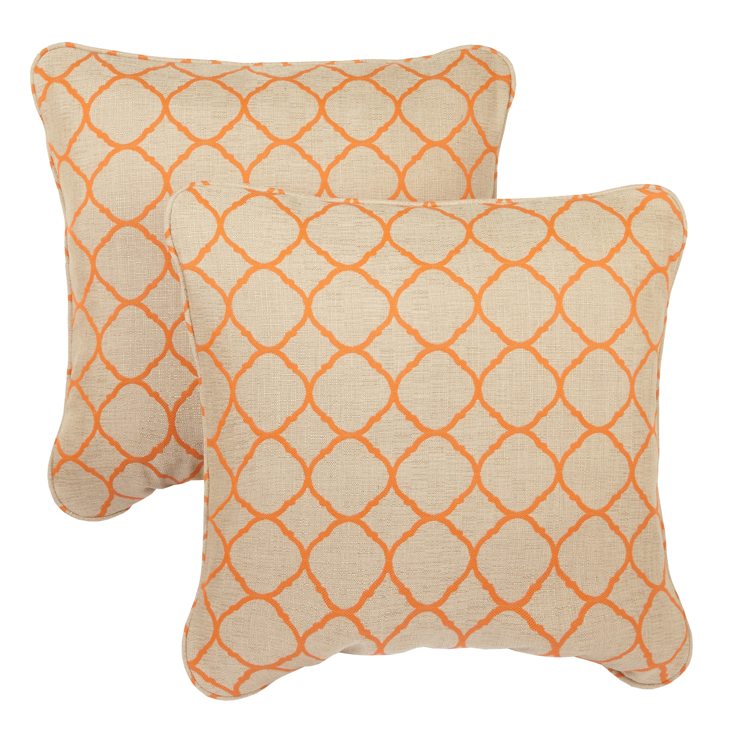 Moroccan Orange Indoor/ Outdoor Corded Square Throw Pillows with Sunbrella  Fabric Set of 20