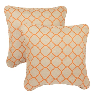 Moroccan Orange Indoor/ Outdoor Corded Square Throw Pillows with Sunbrella Fabric (Set of 2)