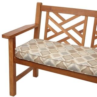 Beige/ Grey Ogee Indoor/Outdoor 60-inch Bench Cushion with Sunbrella Fabric