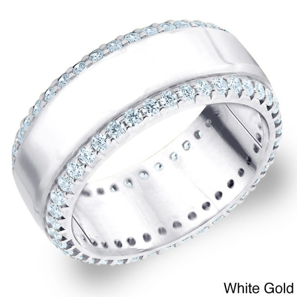 Amore 14k White or Yellow Gold 1ct TDW Machine-set Diamond Anniversary Wedding Band