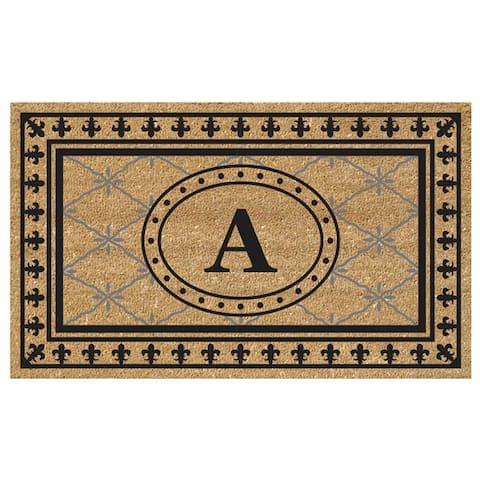 SuperScraper Coir Fiber Bungalow Design Monogrammed Doormat