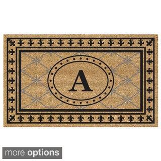 SuperScraper Vinyl/ Coir Bungalow Design Monogrammed Doormat