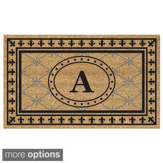 SuperScraper Coir Fiber Bungalow Design Monogrammed Doormat|https://ak1.ostkcdn.com/images/products/8701493/SuperScraper-Vinyl-Coir-Bungalow-Design-Monogrammed-Doormat-P15952411.jpg?impolicy=medium