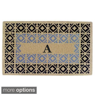 Handmade Monogrammed Decorative Crispin Blue Coir Door Mat (1'10 x 3')