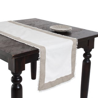 Two-tone Linen Blend Knotted Border Ivory Table Runner
