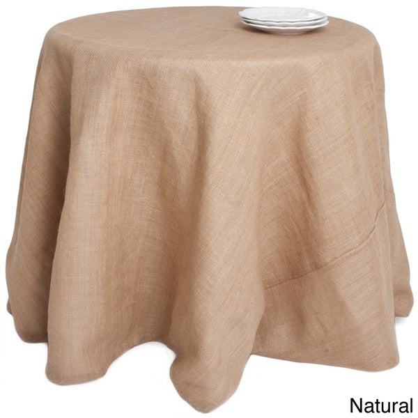 Superb Round Burlap Tablecloth   Free Shipping Today   Overstock.com   15952429