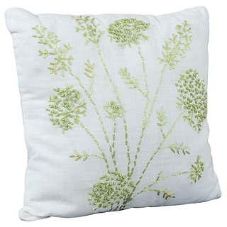Ribbon Embroidered White Decorative Floral Throw Pillow
