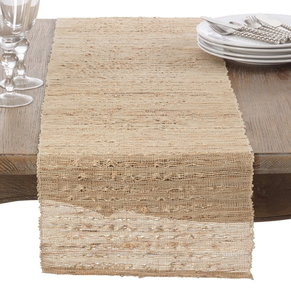 Shop Woven Nubby Natural Table Runner On Sale Free