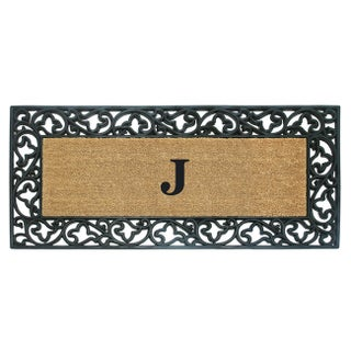 Wrought Iron Monogrammed Rubber/ Coir Door Mat (2' x 4'9) (More options available)