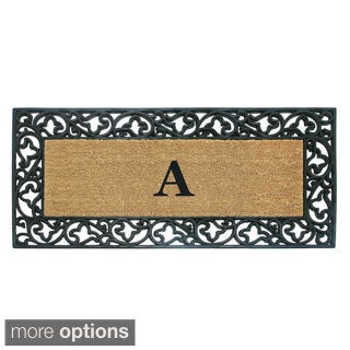 Wrought Iron Monogrammed Rubber/ Coir Door Mat (2' x 4'9) - 24 x 57