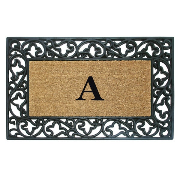 wrought iron monogrammed coir rubber doormat - Rubber Door Mat