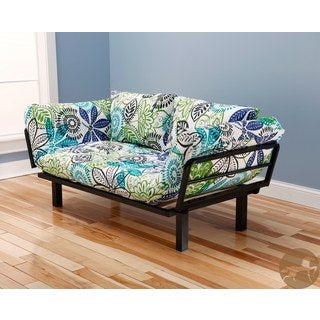 Christopher Knight Home Multi-Flex Black Metal Daybed/Lounger with Blue/ Green Mattress and Pilllows Set