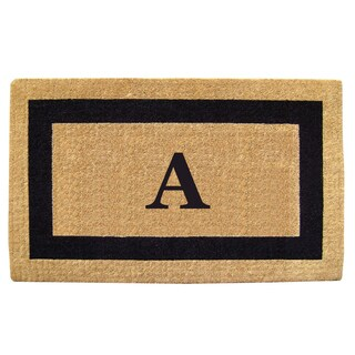 Heavy-duty Coir Single Picture Frame Monogrammed Black Doormat