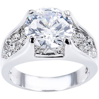 Simon Frank Collection 3.87 ct Cubic Zirconia Solitare and Pave Accents Ring
