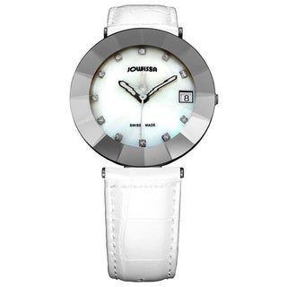Jowissa Women's Pyramid White Leather Date Watch