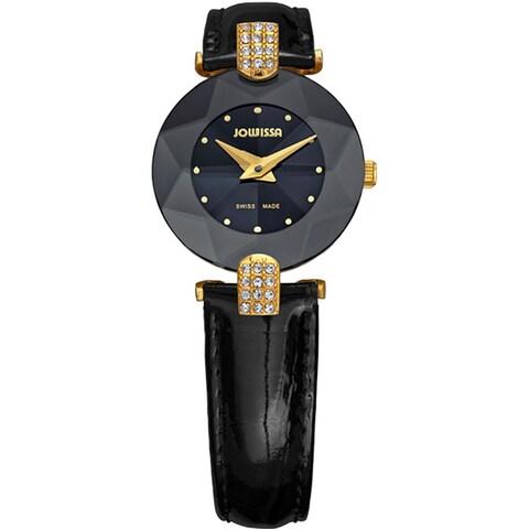 Jowissa Women's Facet Strass Black Leather Watch