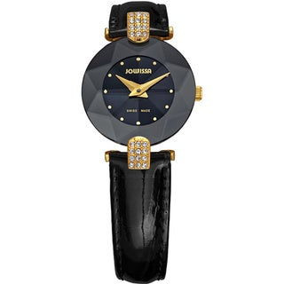 Jowissa Women's Facet Strass Black Leather Watch