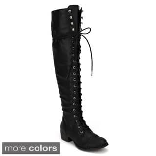 Breckelle's Women's 'Alabama-12' Elastic Over-the-knee Combat Boots|https://ak1.ostkcdn.com/images/products/8704622/Breckelles-Womens-Alabama-12-Elastic-Over-the-knee-Combat-Boots-P15955182.jpg?impolicy=medium