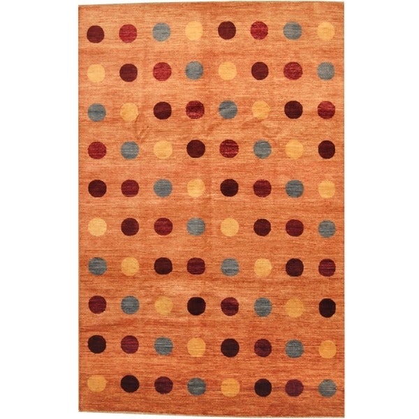 Herat Oriental Afghan Hand-knotted Contemporary Vegetable Dye Wool Rug - 6'8 x 10'4