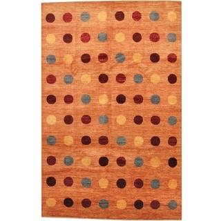 Herat Oriental Afghan Hand-knotted Contemporary Vegetable Dye Orange/ Burgundy Wool Rug (6'8 x 10'4)