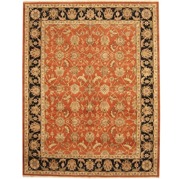Herat Oriental Indo Hand-knotted Vegetable Dye Wool Rug (7'8 x 9'10) - 7'8 x 9'10