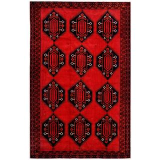 Herat Oriental Afghan Hand-knotted Tribal Balouchi Red/ Charcoal Wool Rug (8'2 x 12'10)