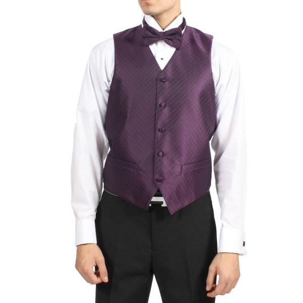 Ferrecci men 39 s dark royal purple 4 piece vest set free for Royal purple mens dress shirts