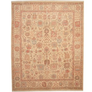 Herat Oriental Afghan Hand-knotted Vegetable Dye Ivory/ Peach Wool Rug (8' x 10')