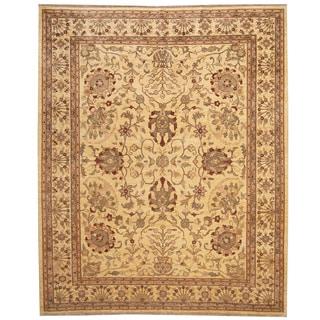 Herat Oriental Afghan Hand-knotted Vegetable Dye Ivory/ Brown Wool Rug (8' x 10')