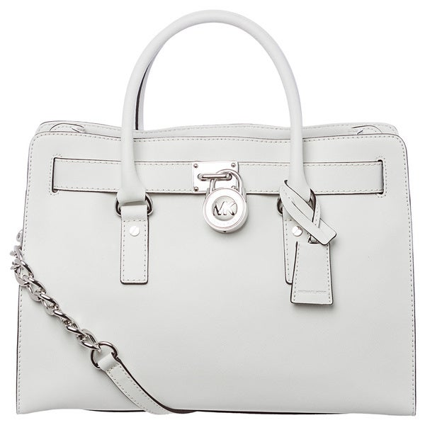d166857651c7 Shop MICHAEL Michael Kors 'Hamilton' Large White Leather East/ West Satchel  - Free Shipping Today - Overstock - 8704709