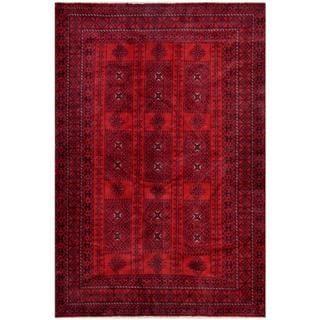 Herat Oriental Afghan Hand-knotted Tribal Balouchi Rust/ Navy Wool Rug (6'3 x 9'3)